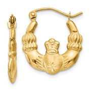 Real 14kt Yellow Gold Polished & Satin Claddagh Hoop Earrings