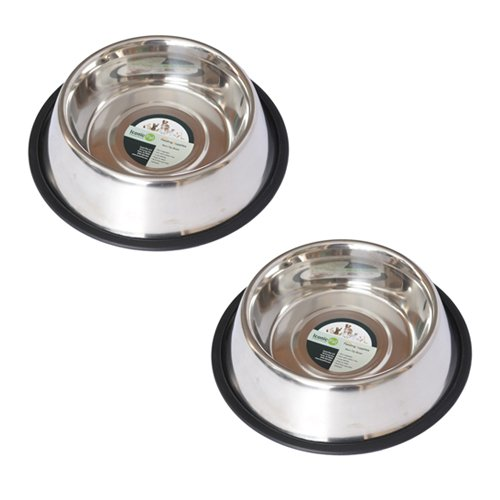 2-Pack Stainless Steel Non-Skid Pet Bowl For Dog or Cat, 96 Oz, 12 Cup