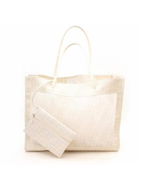 4b15d71fbe14 Product Image PRE-OWNED Monogram Zucca Mesh Shopper Tote with Pouch 869221  White Coated Canvas Shoulder Bag. Fendi