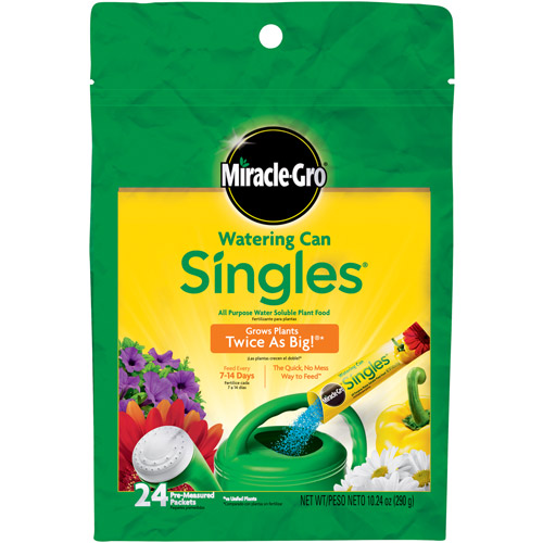 Miracle-Gro Watering Can Singles All Purpose Water Soluble Plant Food, 24 Singles Bag