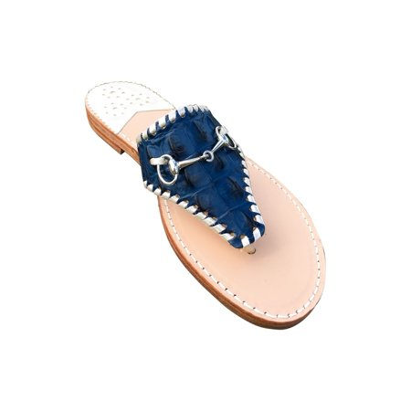 Palm Beach  Wellington Handcrafted Leather Sandals -  Navy Croc/Platinum, Size (Double H Wellington)