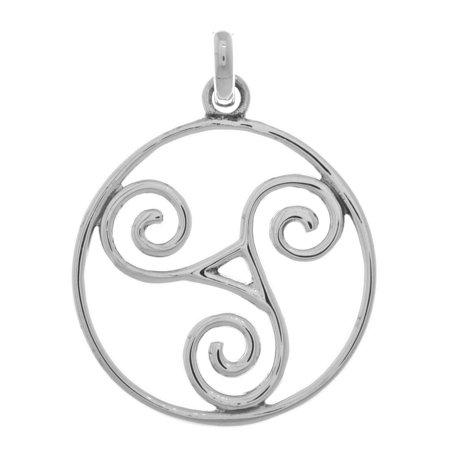 Sterling Silver Large Celtic Triskele Spiral Pendant