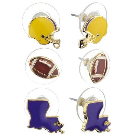 Women's Epoxy Enamel College Football State Theme Set Pierced Stud Earrings, Louisiana, Purple/Gold-Tone Enamel Pierced Earrings