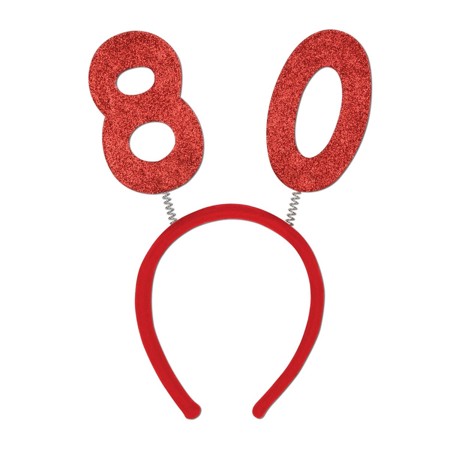 "Club Pack of 12 Red ""80"" Glittered Bopper Headband Birthday Party Favors"