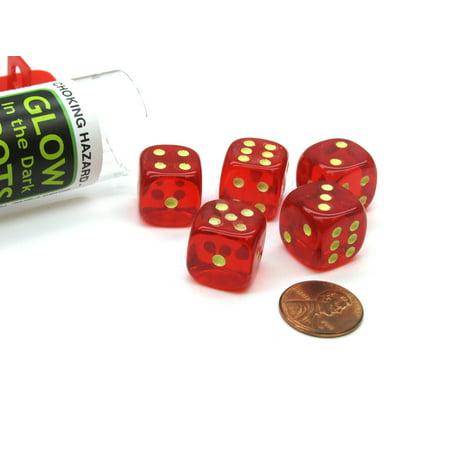 Koplow Games Set of 5 16mm D6 Glow In the Dark Spots Dice in Tube - Red #10569 - Glow Games