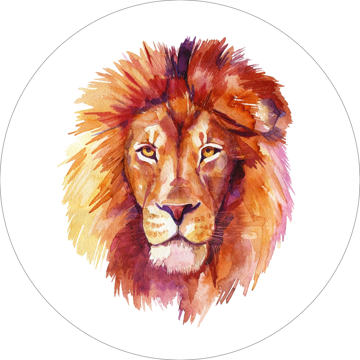 Lion Home Wall Shelf Decor Animal Decorations Watercolor Round Sign - 18 Inch