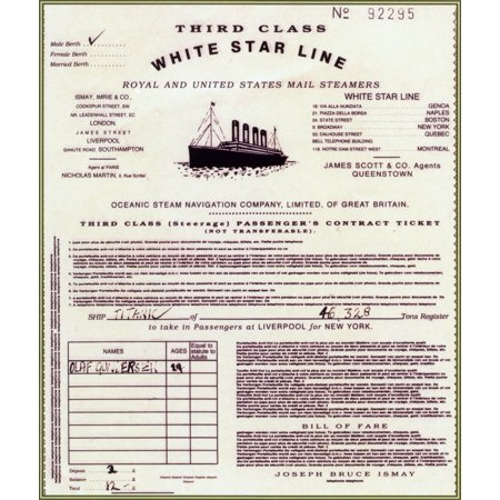 Replica of Titanic Passenger Ticket Rolled Canvas Art - Science Source (18 x 24)](Science Center Halloween Tickets)