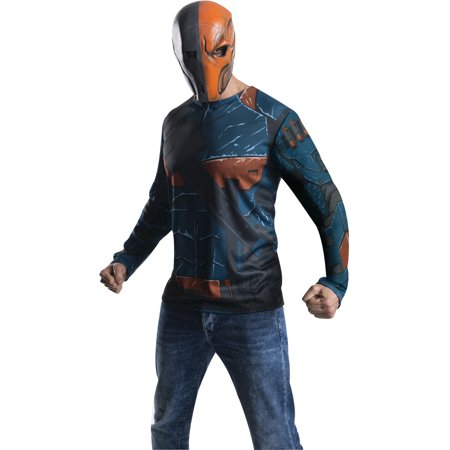 Adult Mens Batman DC Comics Arkham City Deathstroke T-shirt Mask Costume Top (Dc Comics Batman Costume)