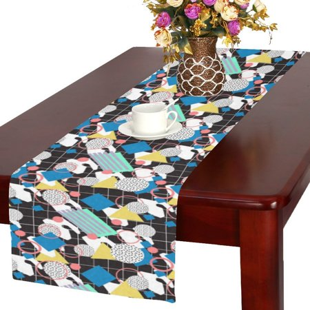 Memphis Runner - MYPOP New Geometric Shapes in Memphis Style Cotton Linen Table Runner 16x72 inches
