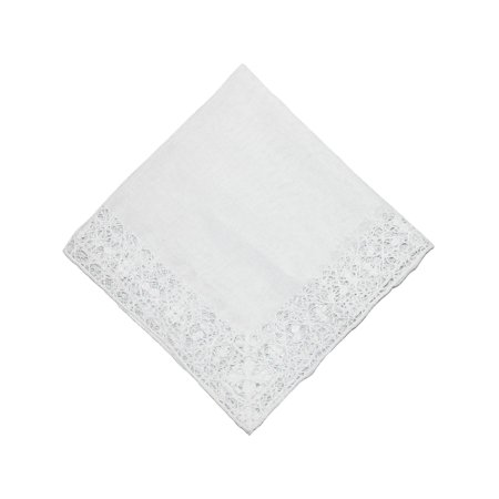 CTM®  Womens Cotton Bridal Hand Crocheted Venice Lace Handkerchief, White