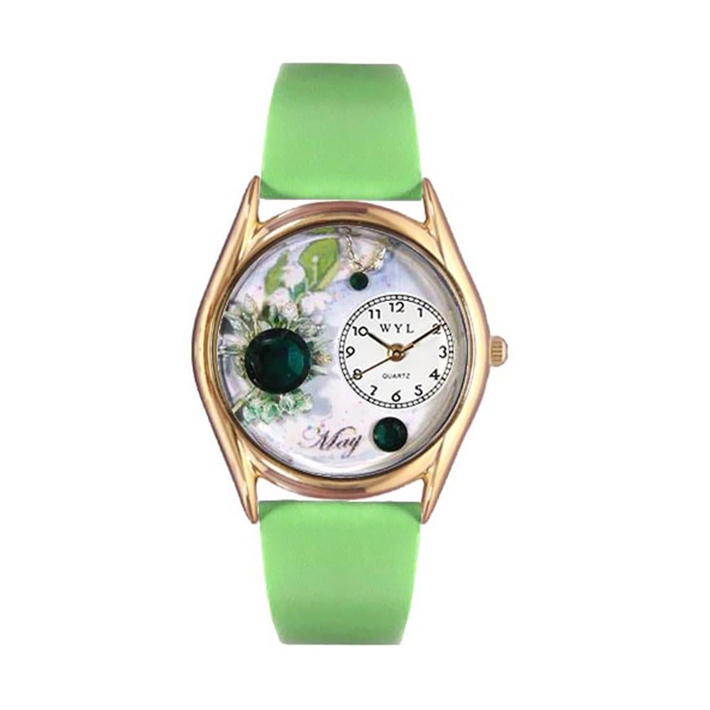 Whimsical Watches Women's Birthstone: May Green Leather and Gold Tone Watch