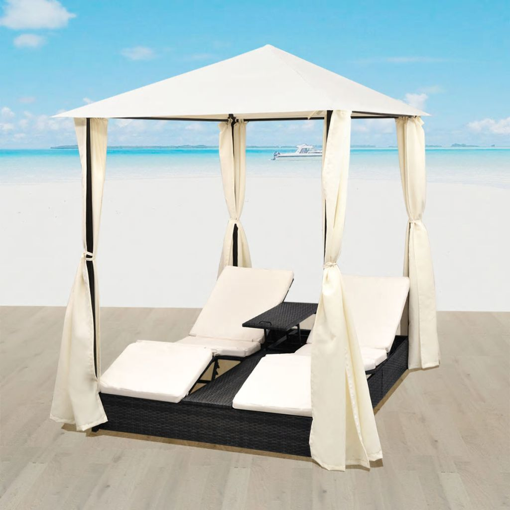 2-Person Outdoor Daybed with Curtains Poly Rattan Black