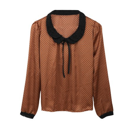 Women Long Sleeves Allover Dots Print Peter Pan Collar Top