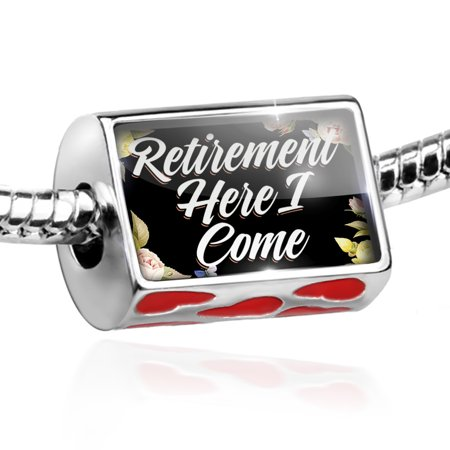 Bead Floral Border Retirement Here I Come Charm Fits All European Bracelets - Floral Beads