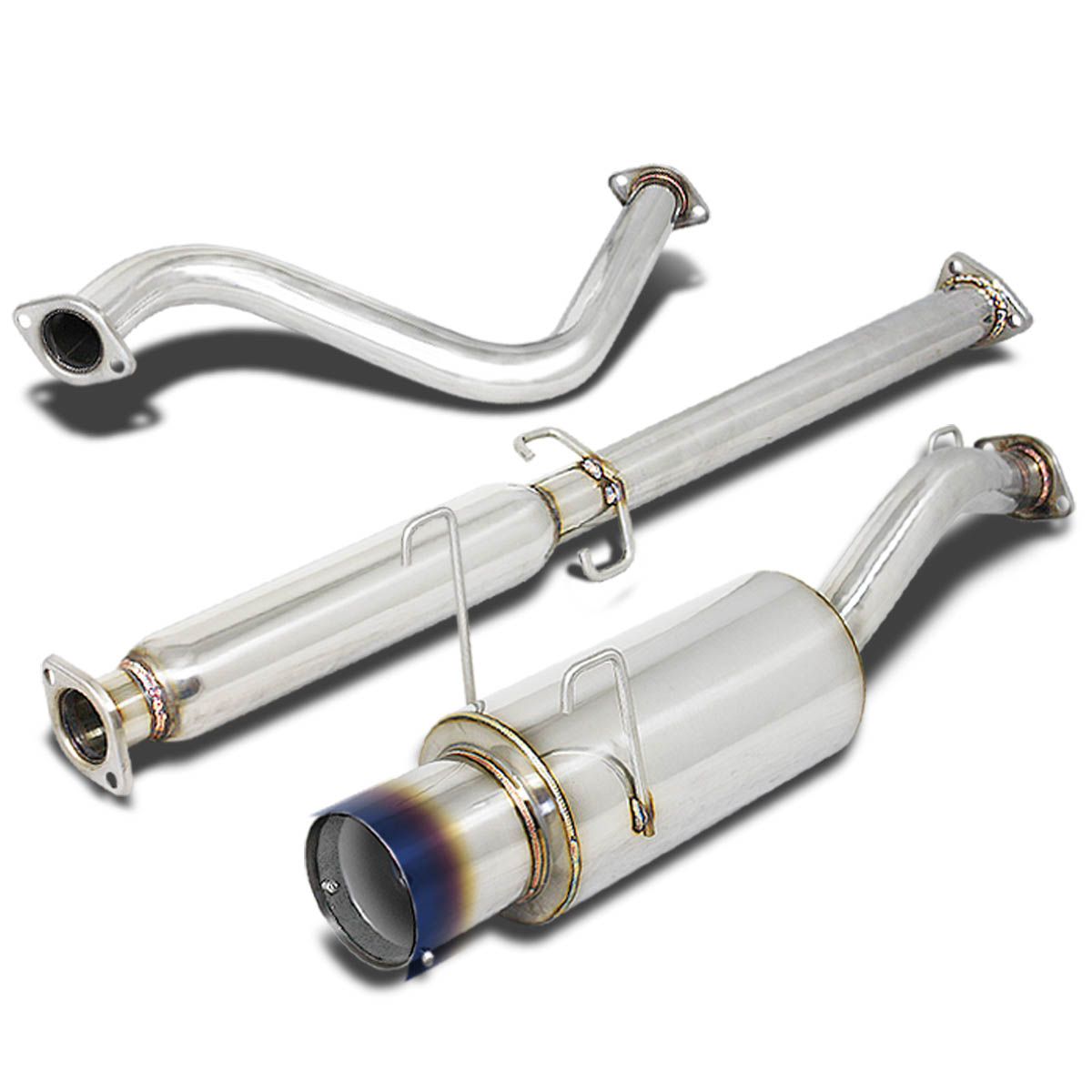 """4/""""ROLLED TIP STAINLESS STEEL EXHAUST CATBACK SYSTEM FOR 93-97 DEL SOL EG EH6"""