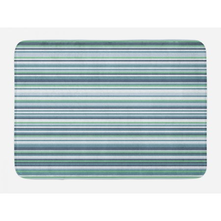 Striped Bath Mat, Abstract Narrow Bands Group of Long Same Bars Vintage Geometric Artwork Image Print, Non-Slip Plush Mat Bathroom Kitchen Laundry Room Decor, 29.5 X 17.5 Inches, Teal Blue, Ambesonne ()