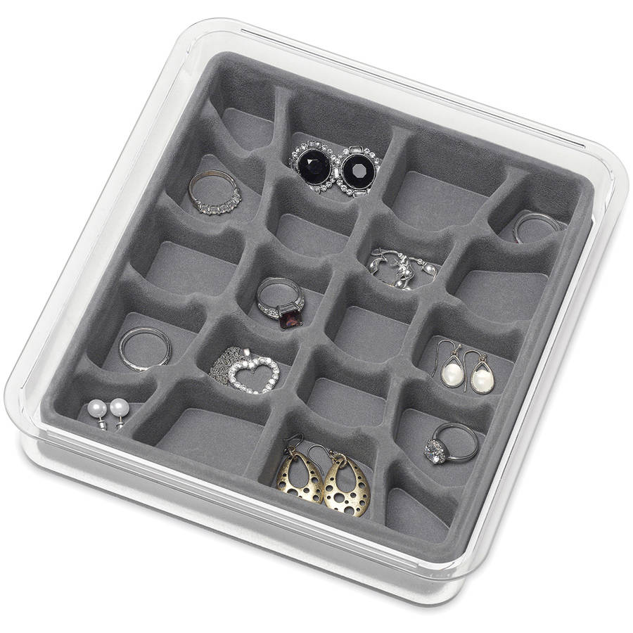 """Whitmor 6483-4992-GREY 8"""" x 9"""" x 1.5"""" Clear and Grey 20 Section Stacking Jewelry Tray"""