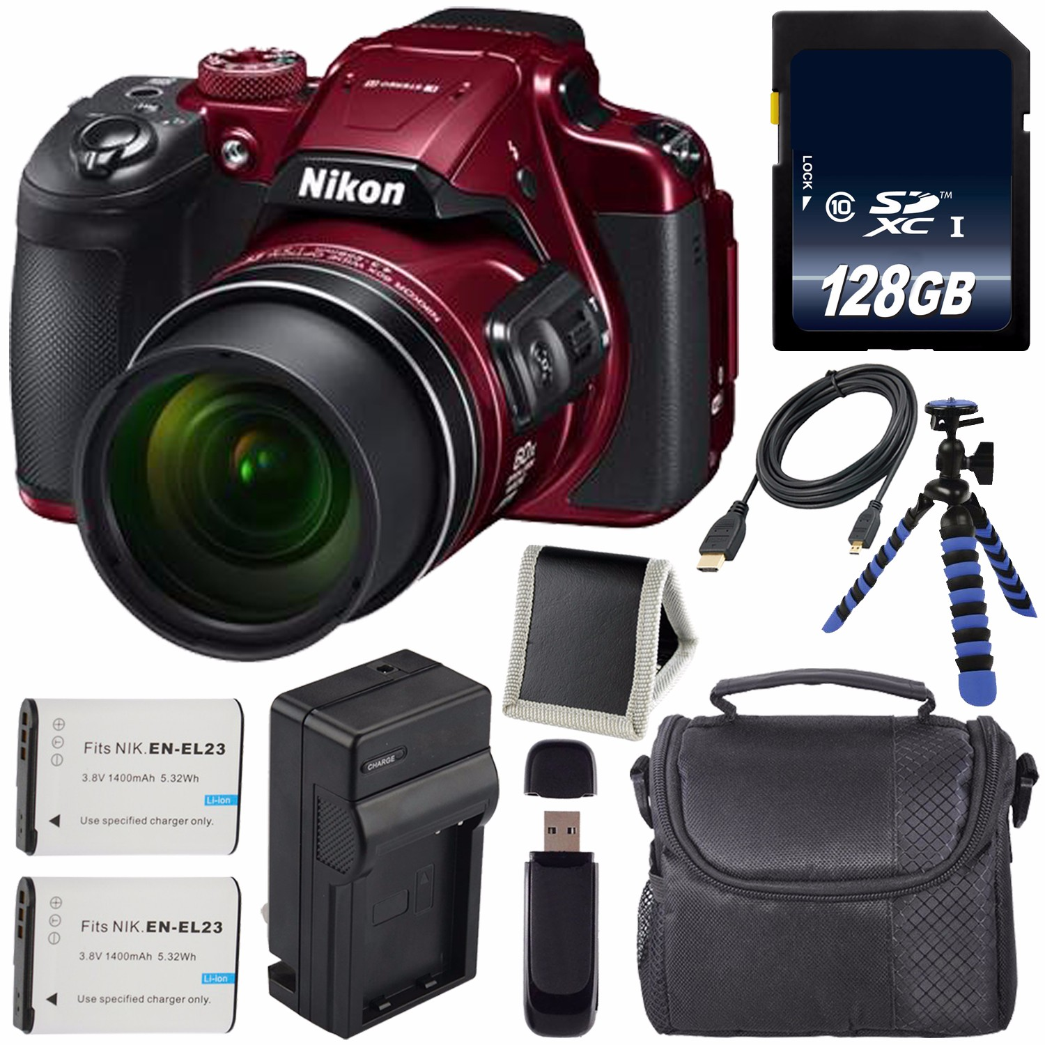 Nikon COOLPIX B700 Digital Camera (Red) International Model + EN-EL23 Replacement Li-on Battery + External Rapid Charger + 128GB SDXC Class 10 Memory CardFlexible Tripod with Gripping Rubber LegBundle