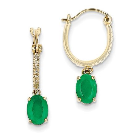 14k Yellow Gold Diamond & Emerald Dangle Hinged Hoop Earrings. Carat Wt- 1.59ct (0.8IN x 0.4IN