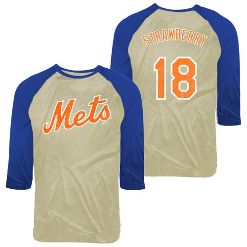 Darryl Strawberry New York Mets Majestic Threads Cooperstown Player Name & Number Raglan T-Shirt - Tan