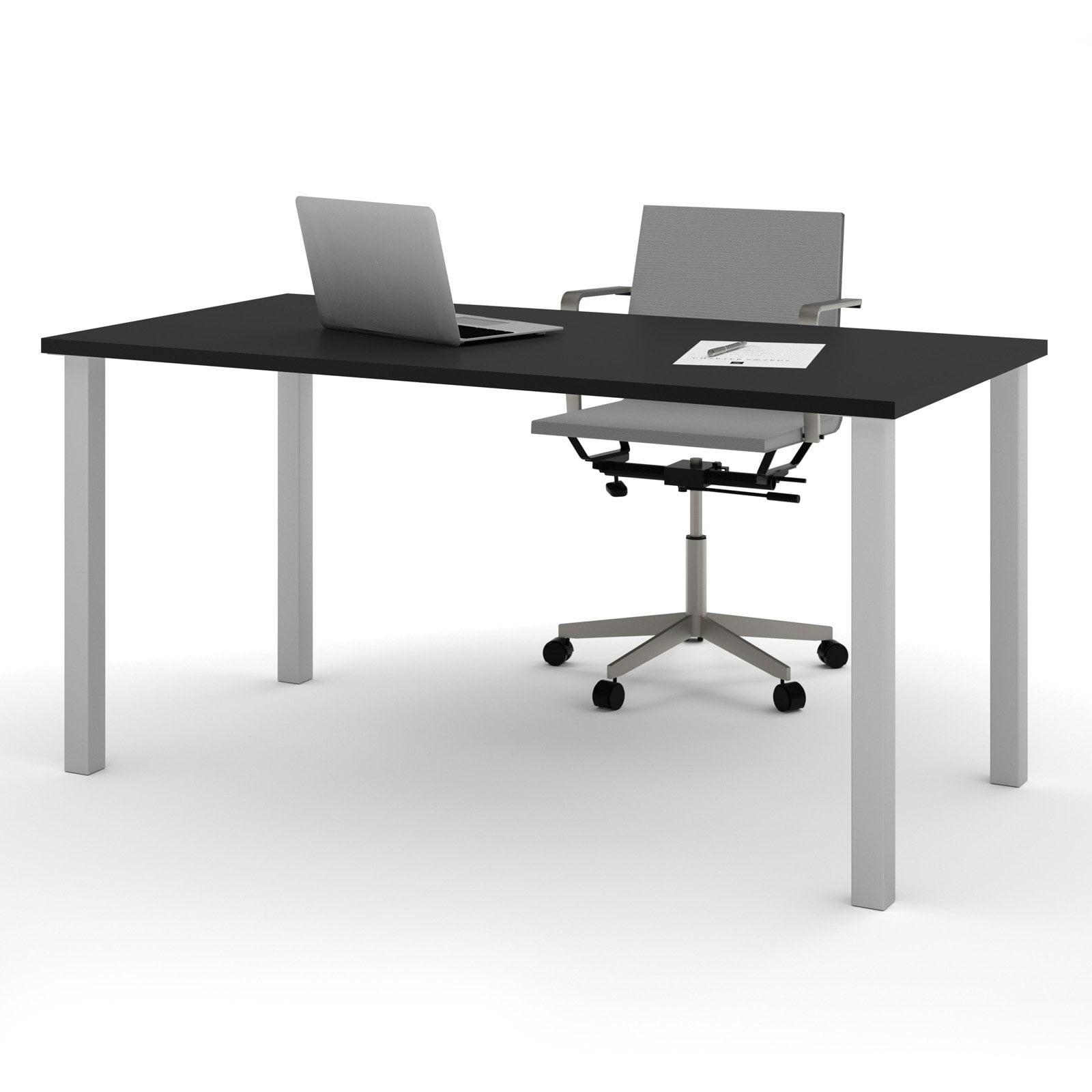 "Bestar 30"" x 60"" Table with square metal legs in Black by Bestar"