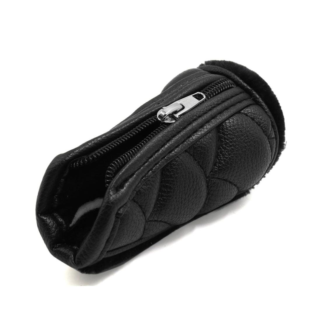 Faux Leather Flannel Zipper Closure Car Gear Shift Lever Knob Cover Black - image 1 of 2