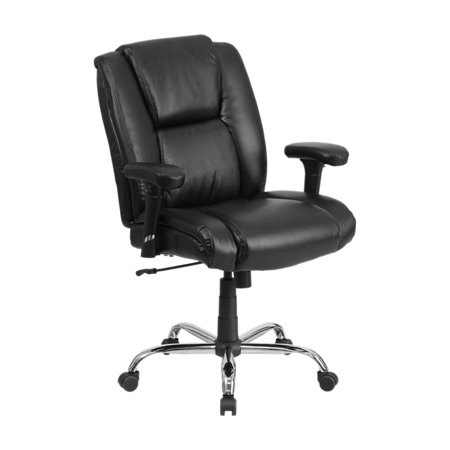 Offex  HERCULES Series 400 lb Capacity Big And Tall Black Leather Swivel Task Chair With Height Adjus (400 Leather)