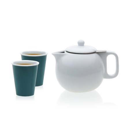 - VIVA Scandinavia Jaimi Porcelain Teapot and Laura Cup Set, 7.25-ounce Tea Cups, 36.5-ounce Porcelain Teapot with Stainless Steel Infuser (Set of 3)