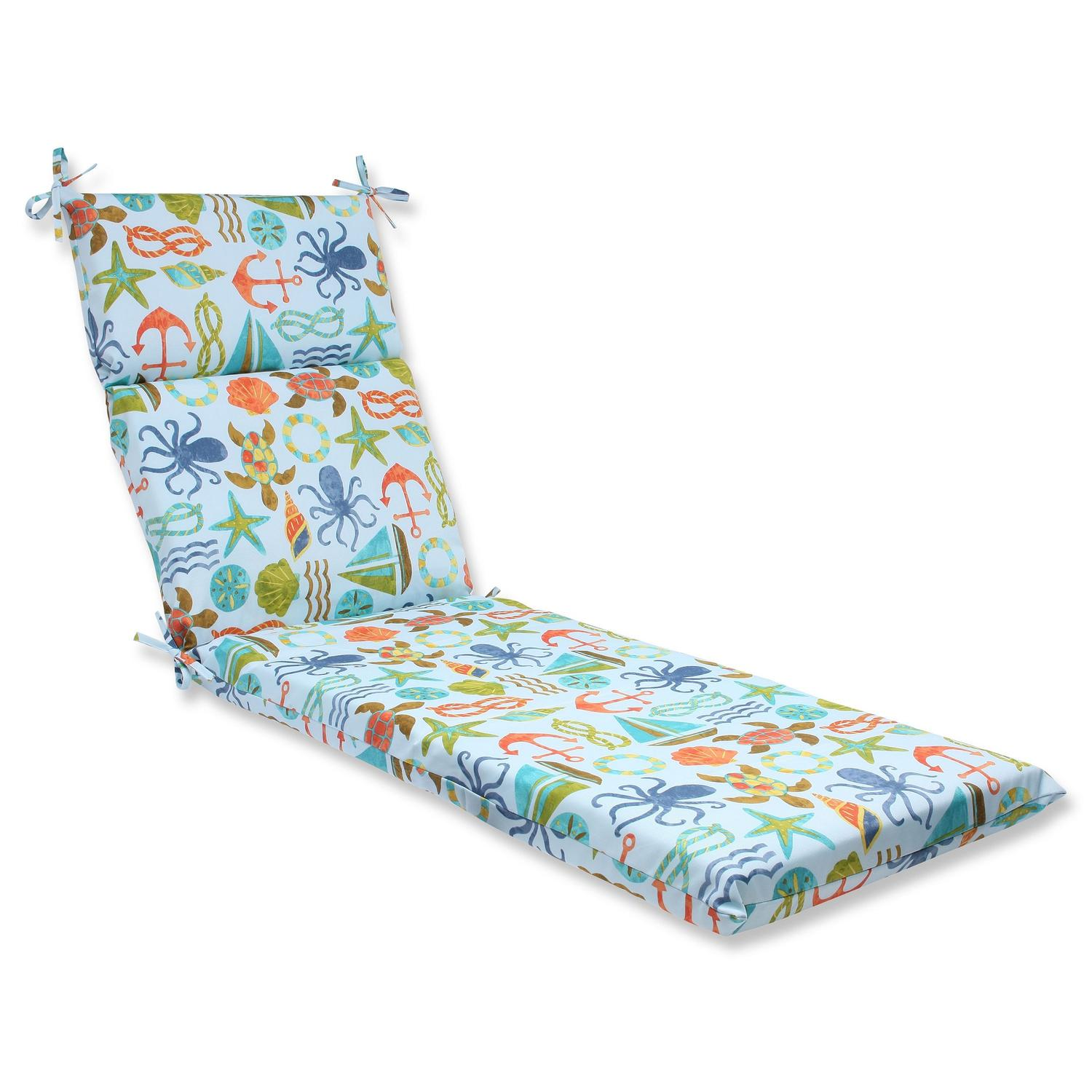 "72.5"" Blue Sea Themed UV-resistant Outdoor Patio Chaise Lounge Cushion with Ties"
