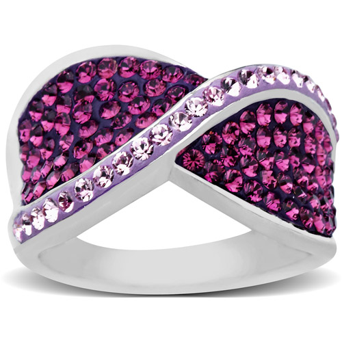 Luminesse Sterling Silver Purple Bypass Ring made with Swarovski Elements