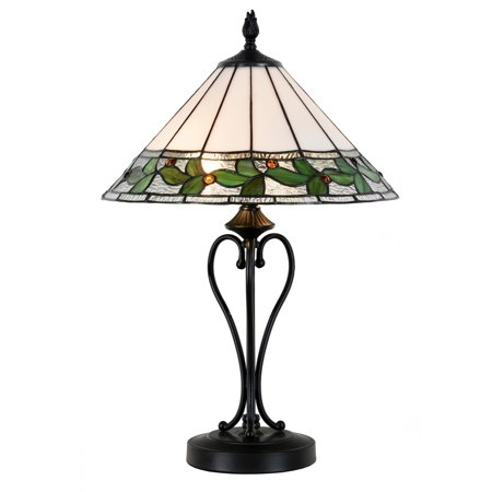 "Dale Tiffany TT15470LED Green Leaves Single Light 25"" Tall LED Buffet Style Table Lamp with Tiffany Glass Shade"