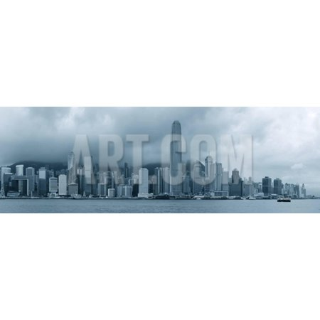 Urban Architecture in Hong Kong Victoria Harbor with City Skyline and Cloud in the Day in Black And Print Wall Art By Songquan Deng