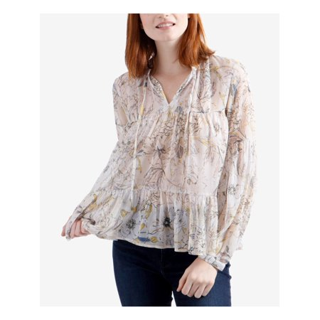 LUCKY BRAND Womens Ivory Floral Printed Long Sleeve V Neck Peasant Top  Size: XS Lantern Sleeve V-neck Top