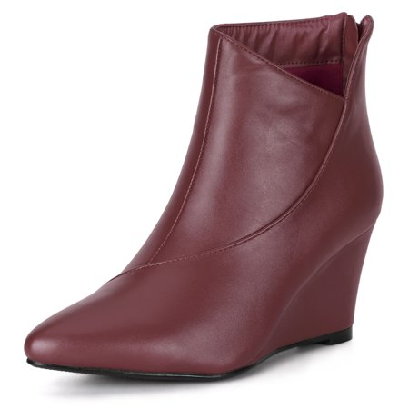 Women's Pointed Toe Zipper Wedge Boots Burgundy US 6 - image 7 of 7