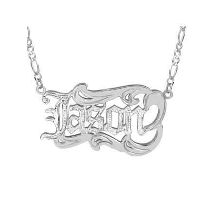 Personalized Sterling Silver or Gold Plated Mens Nameplate Necklace with Old English Lettering, 18