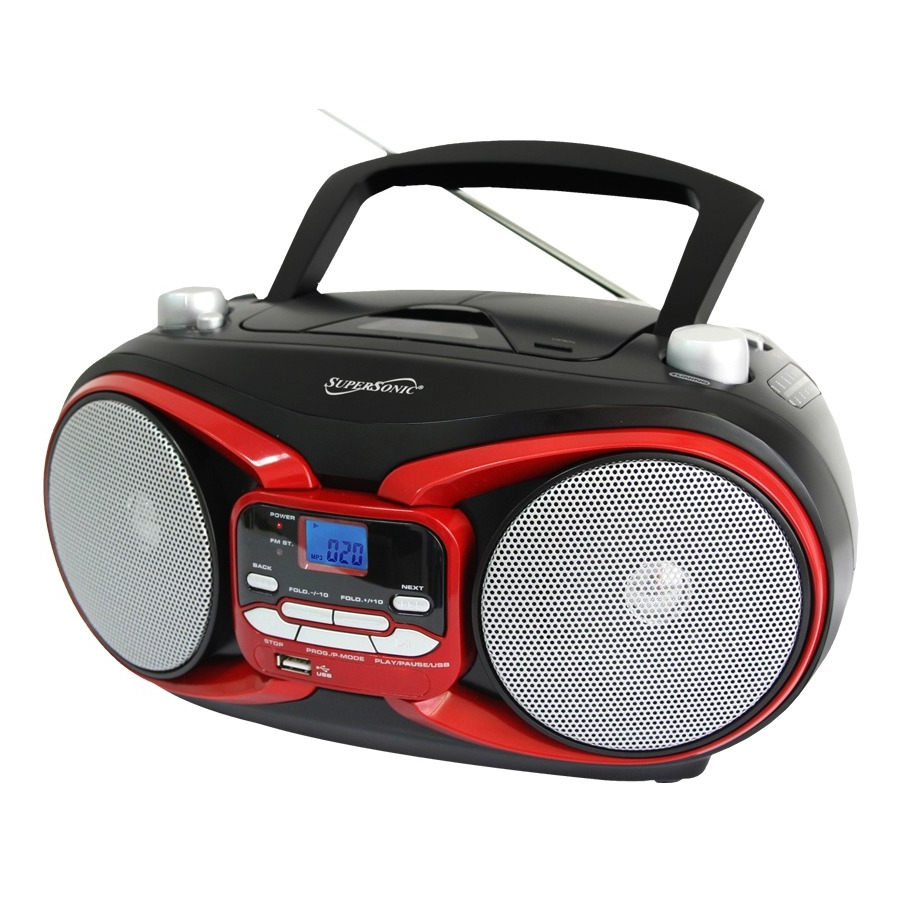 Supersonic Sc-504 Portable Audio System Mp3/cd Player With Usb/aux Inputs & Am/fm Radio - 1 X Disc - 3 W Integrated - Red Lcd - Cd-da, Mp3 - 1600 Khz, 108 Mhz - Usb - Auxiliary Input (sc-504red)