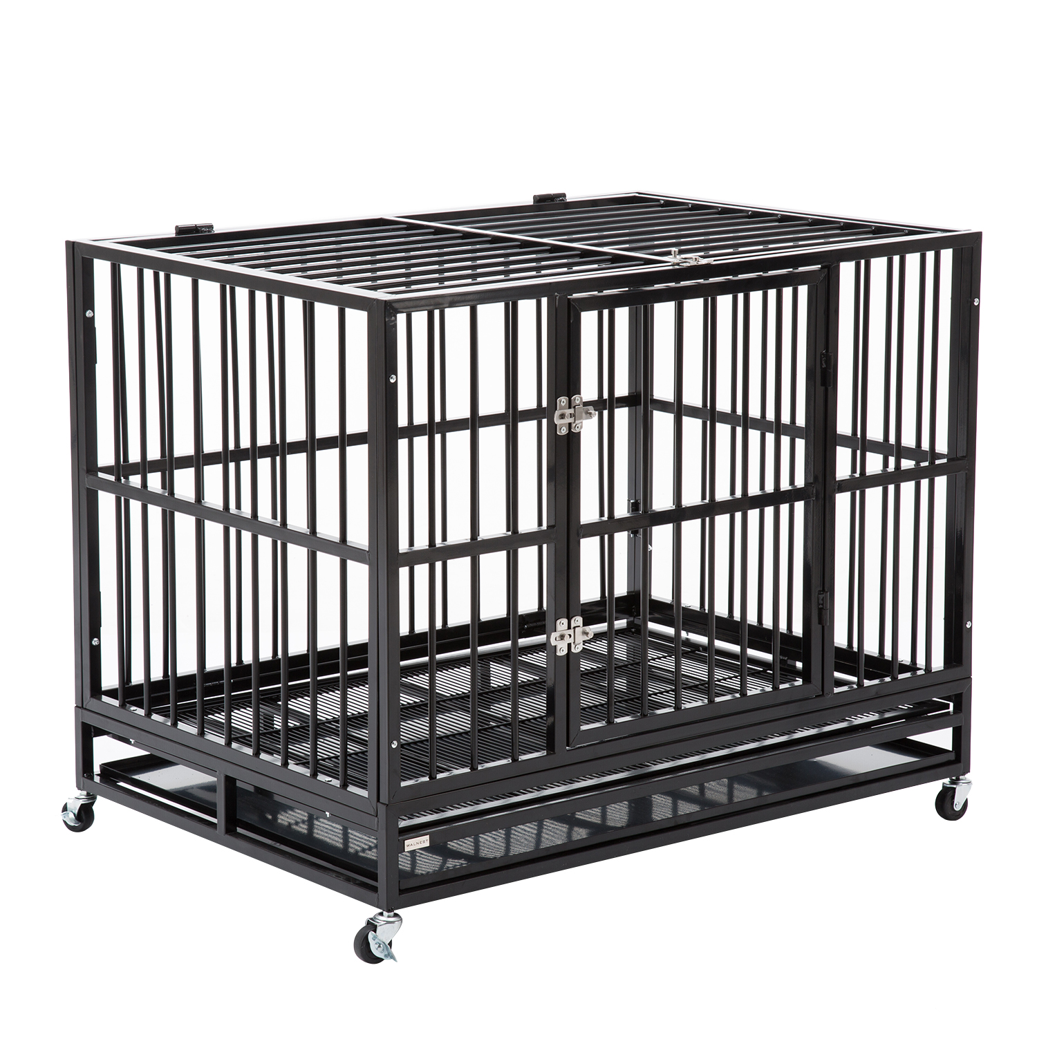 "42"" Heavy Duty Dog Cage Crate Kennel Metal Pet Playpen Portable w Tray Black by"