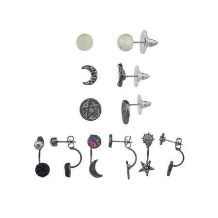 Lux Accessories Black Celestial Full Half Moon Star Pentagram Set Stud