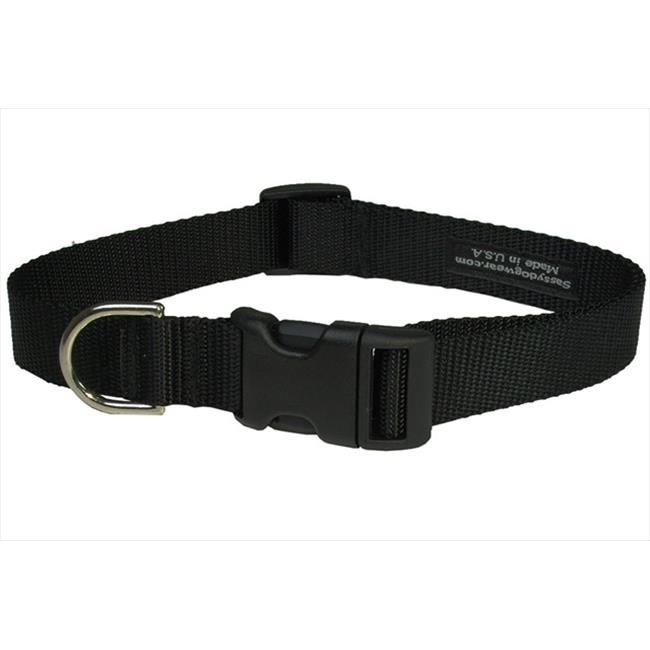 Nylon Webbing Dog Collar, Black - Small