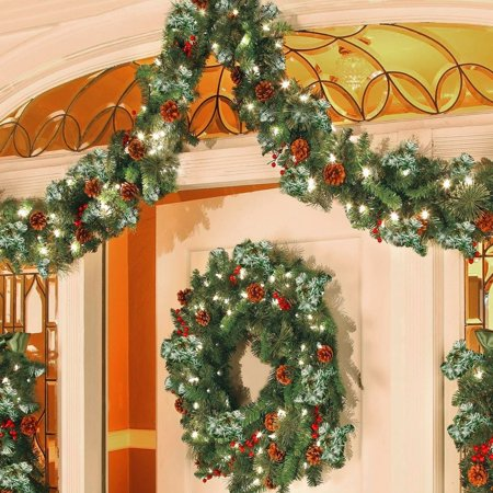 Christmas Fireplace Garland (4 style 2.7M LED Christmas Festival Decoration Garland Home Decor Rattan Lights Wreath Decorated Mantel Fireplace Stairs Wall Door Pine Xmas)