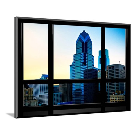 Window View, Special Series, Sunset Philly Skyscrapers View, Philadelphia, Pennsylvania, US, USA Wood Mounted Print Wall Art By Philippe Hugonnard