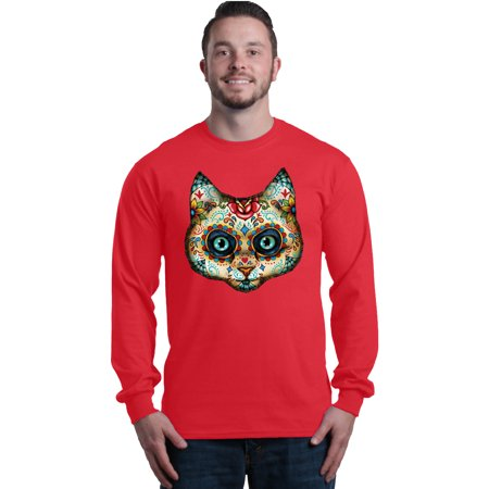 Shop4Ever Men's Sugar Skull Cat Day of the Dead Long Sleeve Shirt - Sugar Skull Cat
