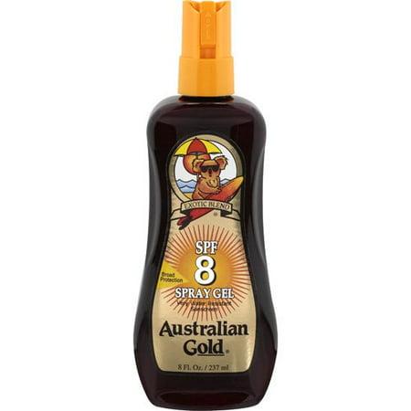 Australian Gold Sunscreen Spray Gel SPF8 Waterproof Sunscreen with Instant Bronzer and Moisturizer