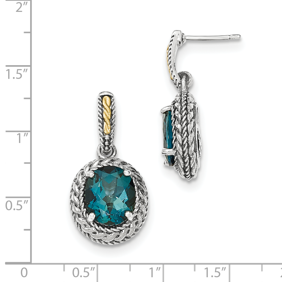 Sterling Silver Two Tone Silver And Gold Plated Sterling Silver w/London Blue Topaz Earrings - image 1 of 2