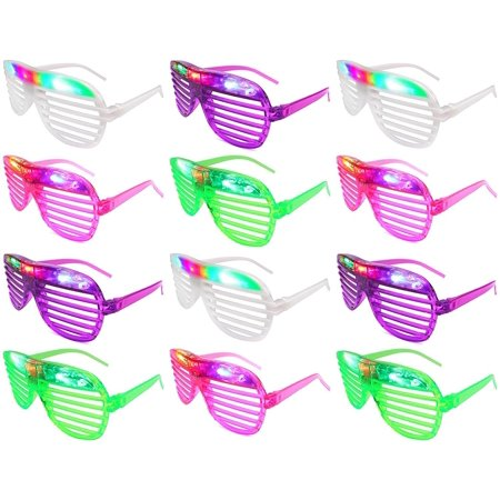 12 Piece High Quality Slotted & Shutter Shades Light Up Unisex Flashing Glasses For Adults & - Light Up Shutter Shades