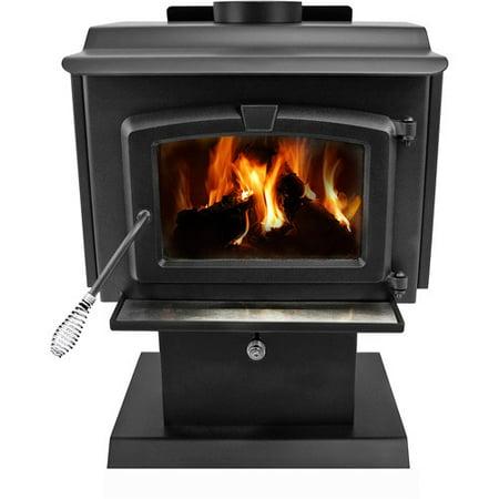 Pleasant Hearth 1,200 sq ft Pedestal Wood Burning Stove with Blower, Small,  HWS- - Pleasant Hearth 1,200 Sq Ft Pedestal Wood Burning Stove With