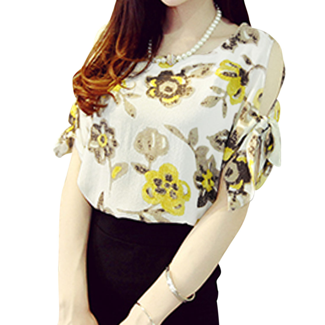 Women Short Sleeves Flower Pattern Casual Shirt Camel White XS