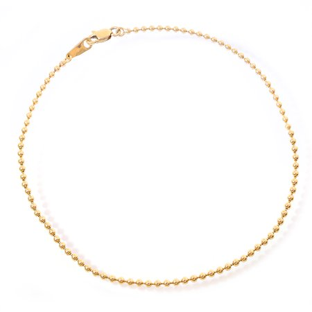 14k Yellow Gold Ball Chain Ankle Bracelet