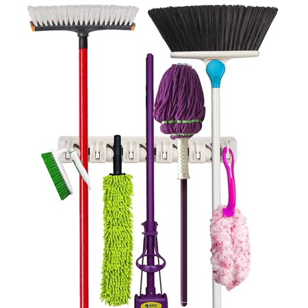 Premium Orangizer Mop and Broom Holder Wall Mounted Garden Tool Storage Tool Rack Storage & Organization Home Plastic Hanger Closet Garage Organizer Shed Basement Storage Must