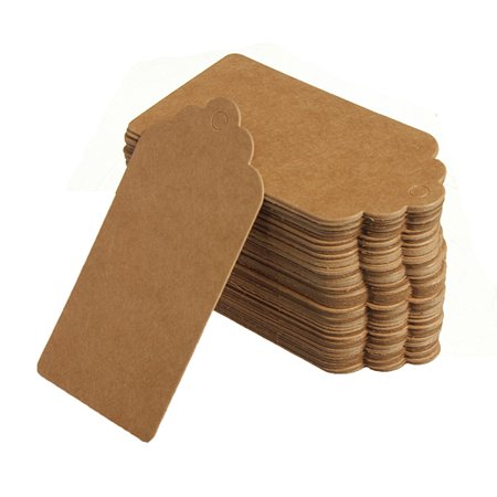 Meigar 100Pcs Kraft Paper Gift Tags Vintage Hang Tags Wedding Birthday Label Blank Luggage Card Rectangle Tags for Crafts & Price Tags (Happy Birthday Gift Tags)